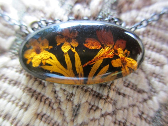 Vintage Necklace Sterling Silver Real Flowers Amber Antique ooak