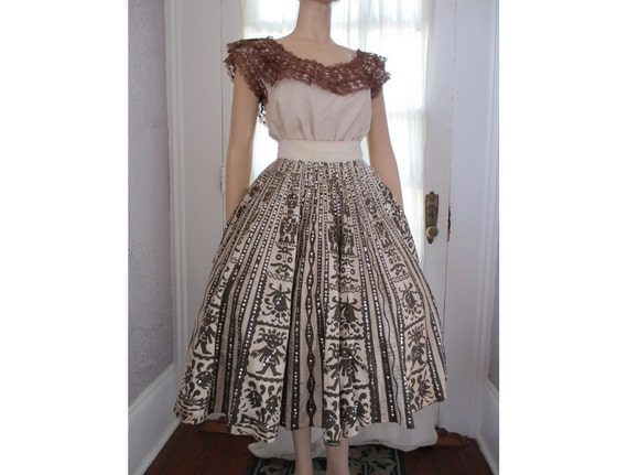 50s Vintage Hand Painted Mexican Skirt Sequins Mayan Mask small medium