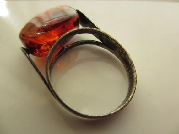 60s Modern Amber Sterling Ring mid century 6 1/4