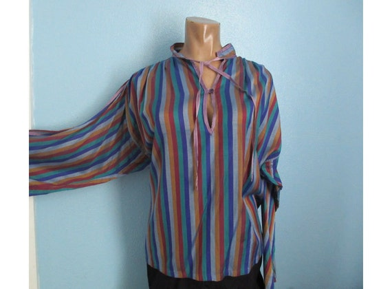 70s VTG  Striped Silk Hippie Shirt Top large Royal Silk