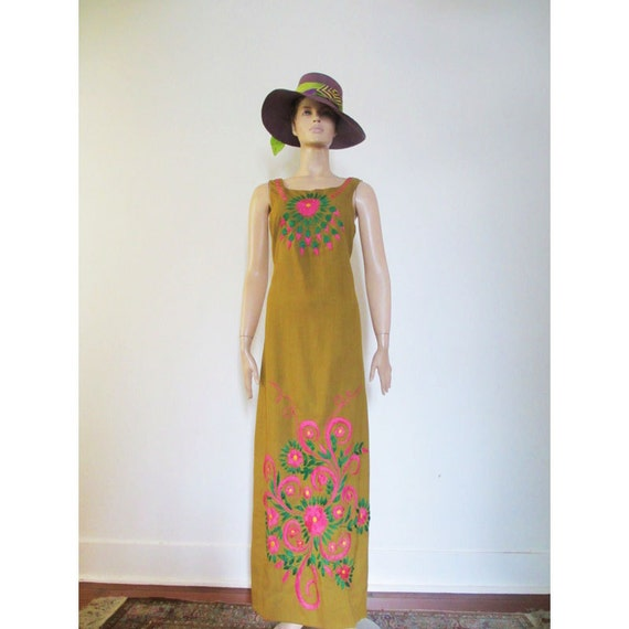 60s Vintage Green Hand Embroidered Maxi Dress Boho medium large