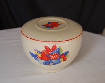 Pottery Bowl with Lid / Vintage Calico Fruit Universal Pottery Bowl / Condiment / Food Container / Refrigerator Dish / Serving Bowl