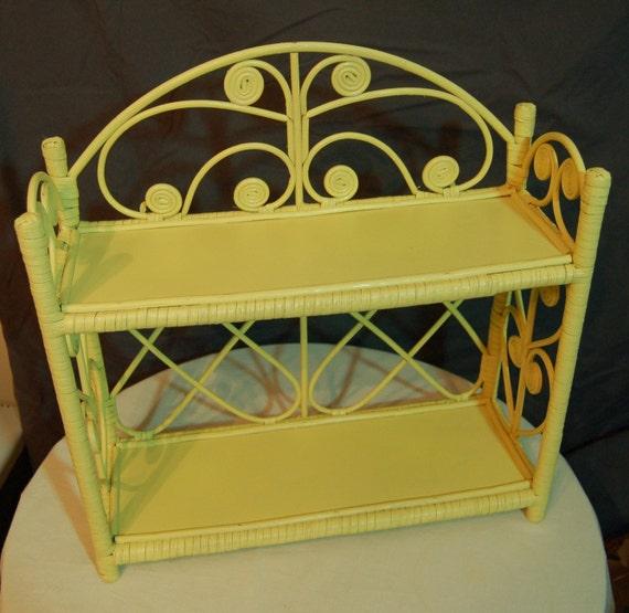 Vintage Yellow Wicker Shelf