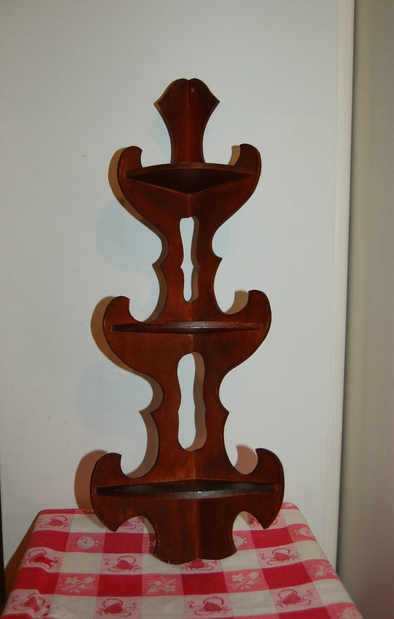 Vintage Wood Corner Shelf
