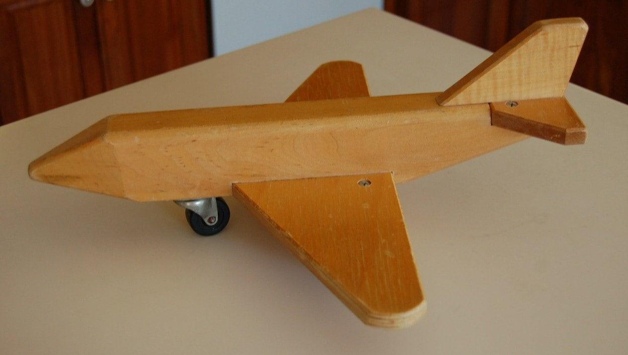 Vintage wood toy airplane by madamemarcie on etsy