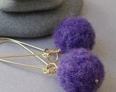 Purple Wool Needle Felted Earrings