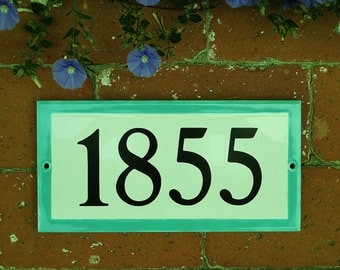 Custom Tile House Number /AQUA Border/White tile/  5 x 10