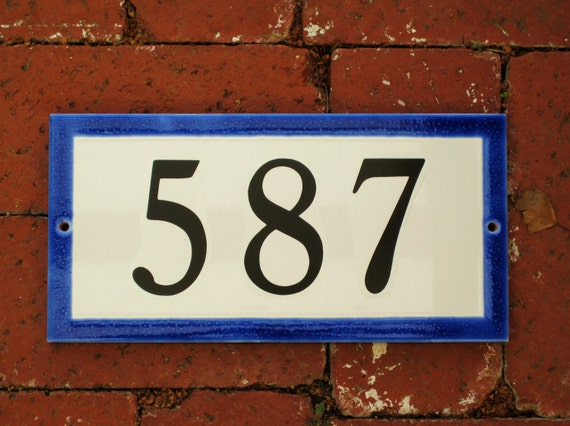 RESERVED LISTING for SHIRLEY  Custom Tile House Number /Cobalt/ 5 x 10