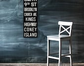BROOKLYN & CONEY ISLAND New York City Vintage Look Subway Sign. Bus Scroll. Canvas 12 x 36 Rollsign Print