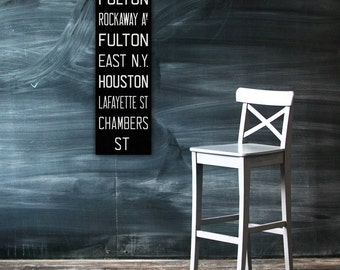 BROOKLYN & MANHATTAN New York City Vintage Look Subway Sign. Bus Scroll. Canvas 12 x 36 Rollsign Print