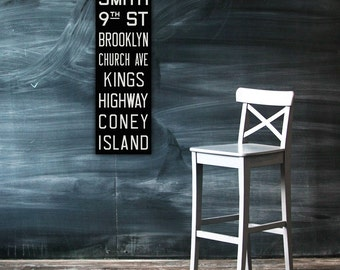 BROOKLYN & CONEY ISLAND New York City Vintage Look Subway Sign. Bus Scroll. Canvas 12 x 36 Rollsign Print