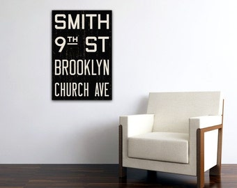 BROOKLYN New York City Distressed Subway Sign. Bus Scroll. Canvas 20 x 30 Rollsign Print