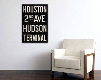 MANHATTAN New York City Distressed Subway Sign. Bus Scroll. Canvas 20 x 30 Rollsign Print