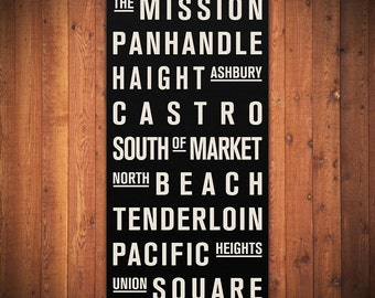 "SAN FRANCISCO Subway Sign. Bus Scroll. Destination List - Canvas 24"" x 48"""