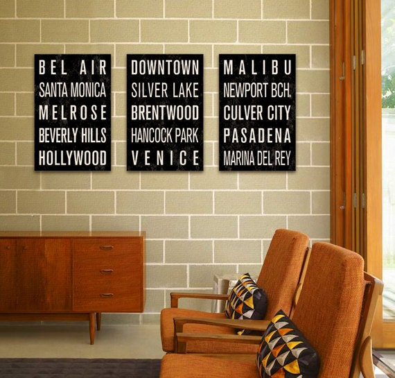 LOS ANGELES Subway Sign Prints. Bus Scrolls (Collection of 3) - 12 x 18