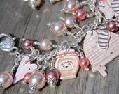 SALE OOAK pink country chic bee hive bracelet