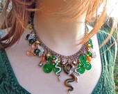 Pagan St Patrick's Day, Spiritual, snakes, shamrock, Limited Edition charm necklace
