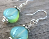 Frosted green tulip earrings, sterling silver ear wires