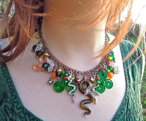 Pagan St Patrick's Day, Spiritual, snakes, shamrock, Limited Edition, Statement necklace