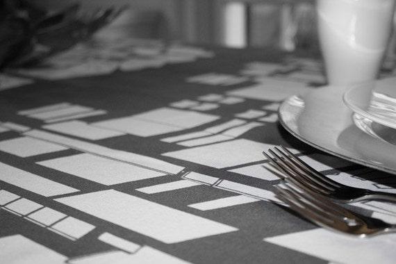 56x90 Tablecloth - Modern Cityscape Grey