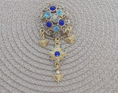 Carribean Blue Crystal Vintage Brooch, Vintage Glamour, Art Deco Style, Collectible :AZURE
