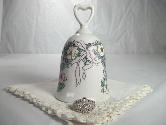 Ribbons and Flowers Porcelain Bell Cake Topper, Vintage, Wedding, Bridal Shower, Rehearsal Dinner, Keepsake, Collectible,