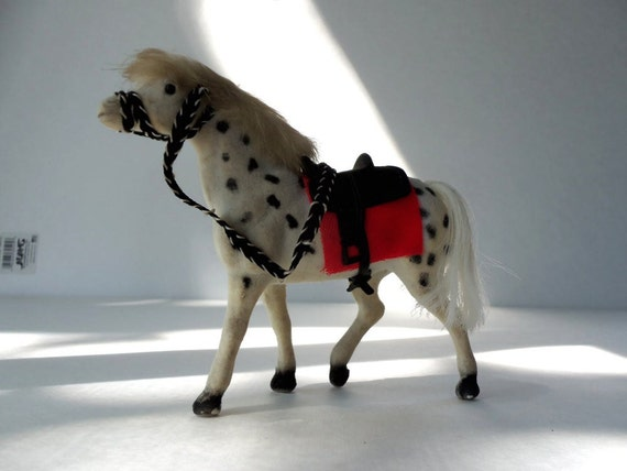 Appaloosa Toy Pony with Saddle Flocked Hair, Vintage, Boy Room, Horse Lovers, Equestrian, Stable, Farm, Ranch, Display, Collectible, SASHA