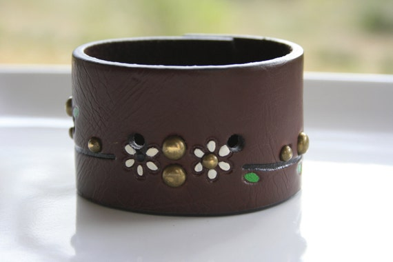 Holiday Etsy Sale - Leather Wristband Cuff - Upcycled Hand Tooled