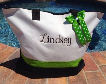 Personalized Tote or Diaper Bag  Lots of Colors to Choose from