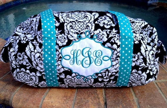Quilted Fabric Duffle Bag or shoulder bag Personalized with Name or Monogram.