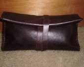 hand stitched quality leather tobacco pouch with pocket for papers
