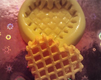 WAFFLE HEART COOKIE- flexible silicone push mold / craft/ dessert/ mini food / soap mold/ resin/jewelry and more..