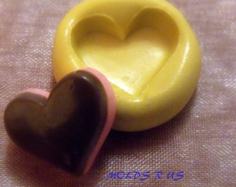 kawaii chocolate covered heart cookie-  flexible silicone push mold / craft/ dessert/ mini food / soap mold/ resin/jewelry and more.