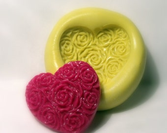 kawaii heart rose mold- flexible silicone push mold / craft/ dessert/ mini food / soap mold/ resin/jewelry and more..