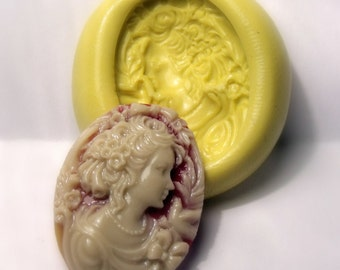 cameo victorian lady with dove - flexible silicone push mold / craft/ dessert/ mini food / soap mold/ resin/jewelry and more.