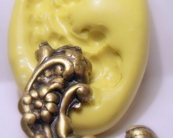victorian scroll mold - flexible silicone push mold / craft/ dessert/ mini food / soap mold/ resin/jewelry and more.