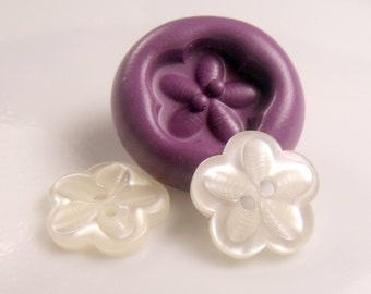 Flower  button mold- flexible silicone push mold / craft/ dessert/ mini food / soap mold/ resin/jewelry and more..
