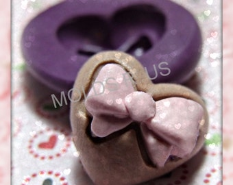 Heart with bow flexible silicone mold / mould