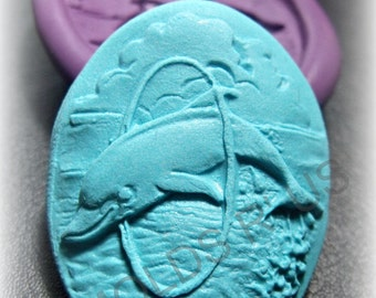 3D Dolphin  Cameo Flexible Silicone mold/ mould