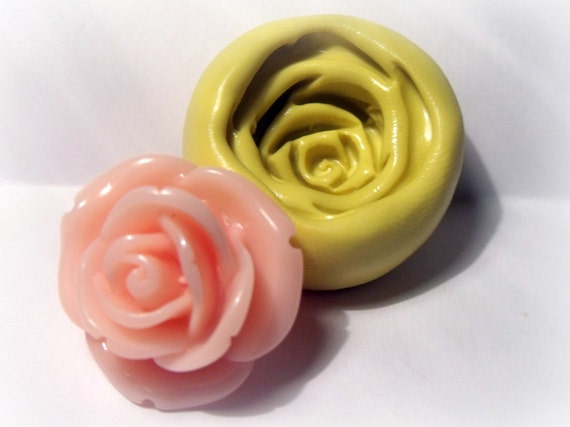 kawaii large rose flexible silicone push mold / craft/ dessert/ mini food / resin/jewelry and more...