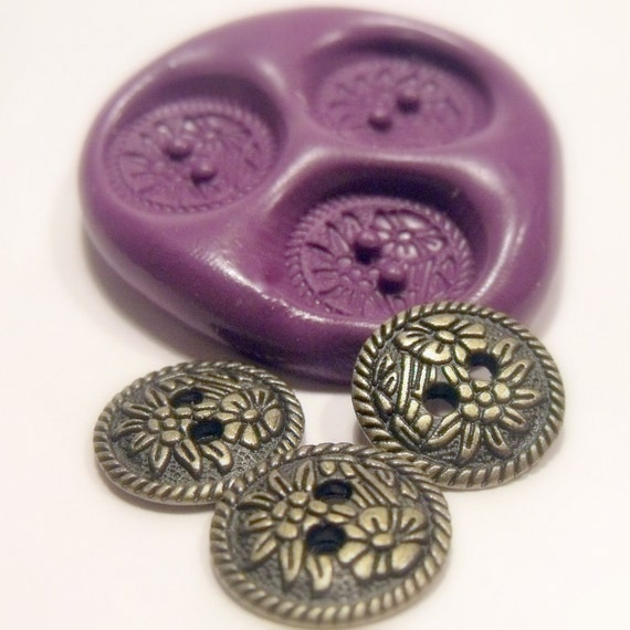 Flowered buttons mould/ mold- flexible silicone push mold / craft/ dessert/ mini food / soap mold/ resin/jewelry and more.