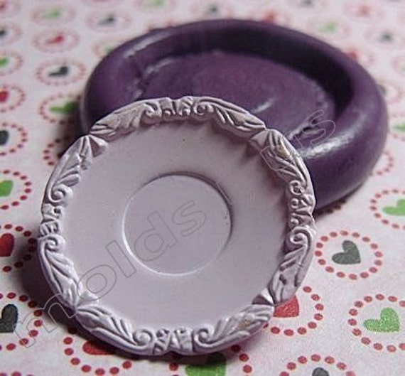 Fancy Victorian Plate silicone push mold- fondant, wax, miniature foods, decoden, clay, resin, sweets, pmc
