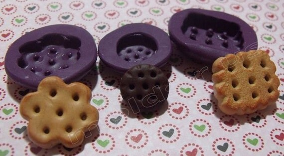 Cookie / biscuit miniature set flexible silicone mold / mould