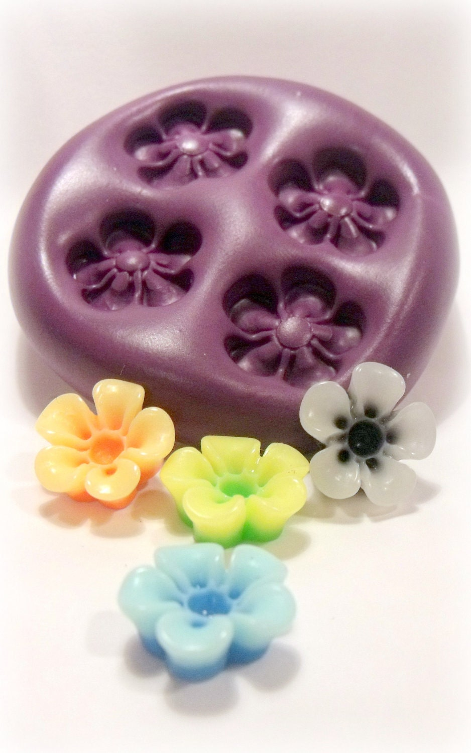 Kawaii Open Flower Mould Mold Flexible Silicone Push Mold