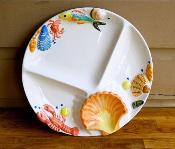 Ceramic serving platter fish lobster shell clam for Fish serving platter
