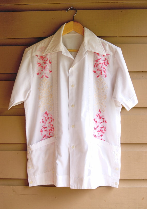 1970s Vintage Mexican Wedding Guayabera Shirt Embroidered