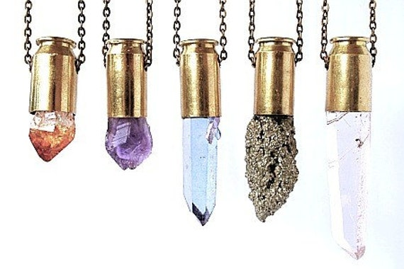 PYTHIA quartz crystal bullet necklace