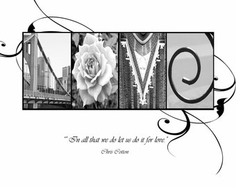 LOVE Photo Letter Art Print wedding and anniversary - with quote (various sizes)