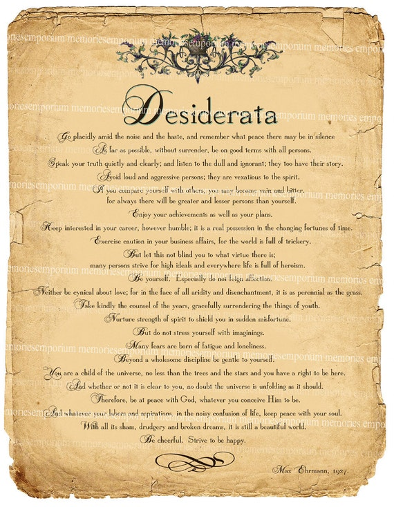 Declarative image regarding desiderata printable