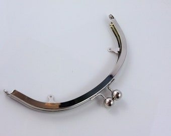 7.5 inches (19 cm) Half Round Silver Clutch Purse Frame with Chain Loops - 1 Piece (MPF-BAL-05)